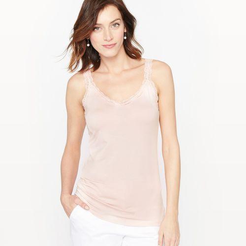 Bluzka na ramiączkach z Tencelu, kolor fioletowy