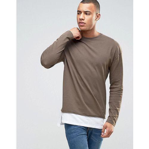 New look  longline long sleeve t-shirt in khaki - brown