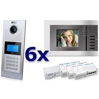 Zestaw wideodomofonowy 6 rodzinny panel c5 c9e21l-c, 6x monitor c5 v3, akcesoria marki Genway