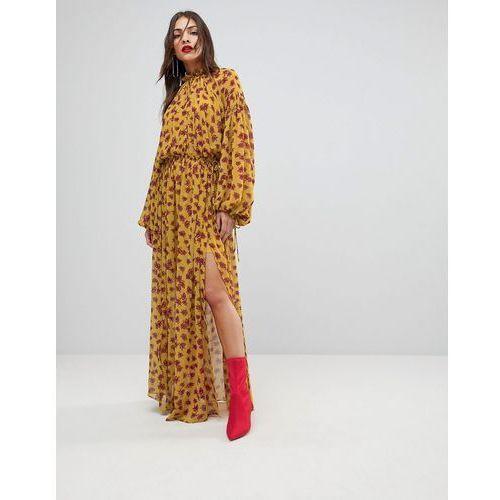 Mango Split Front Floral Maxi Dress - Yellow, w 2 rozmiarach