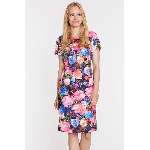 Sukienka z krótkim rękawem w ciekawe, różnokolorowe kwiaty - EMOI, kolor wielokolorowy