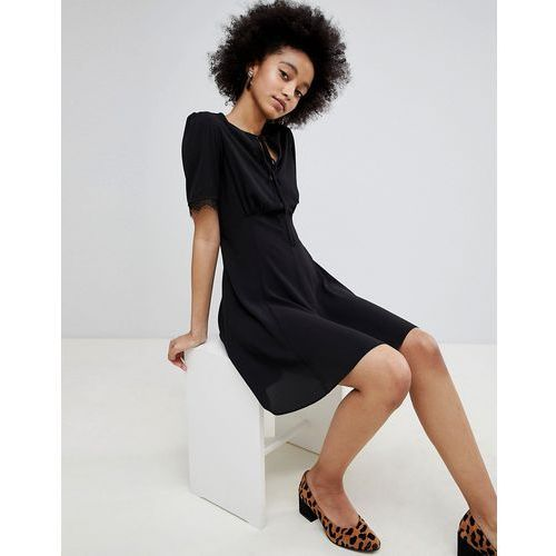 lace trim tea dress - black marki Miss selfridge