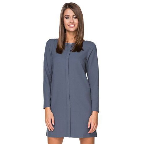 Niebieska Sukienka Elegancka z Plisą na Przodzie, kolor niebieski