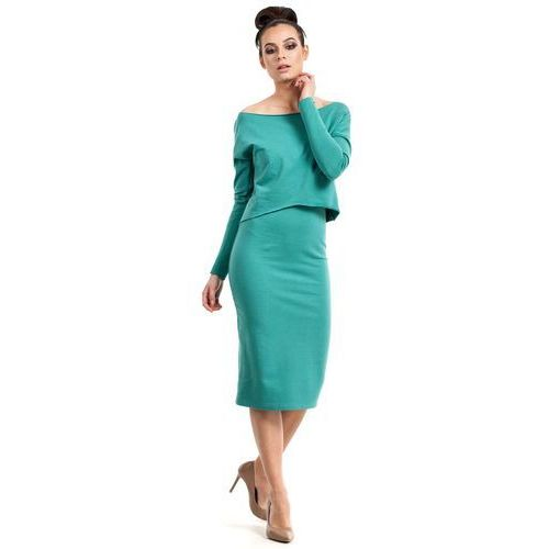 Zielona Sukienka Dopasowana Midi z Nakładką, kolor zielony
