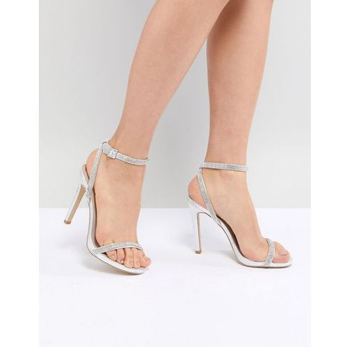 New Look Heatseal Barely There High Heeled Sandal - Silver, kolor szary