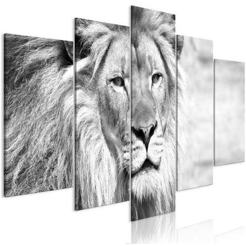 Artgeist Obraz - król zwierząt (5-częściowy) szeroki czarno-biały