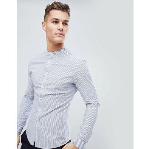 ASOS DESIGN Smart Skinny Stripe Shirt With Grandad Collar - Blue, kolor niebieski
