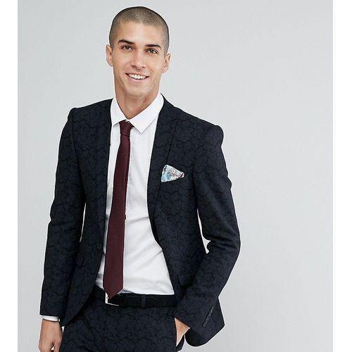 Heart & Dagger Super Skinny Wedding Suit Jacket In Printed Wool Mix - Black, kolor czarny