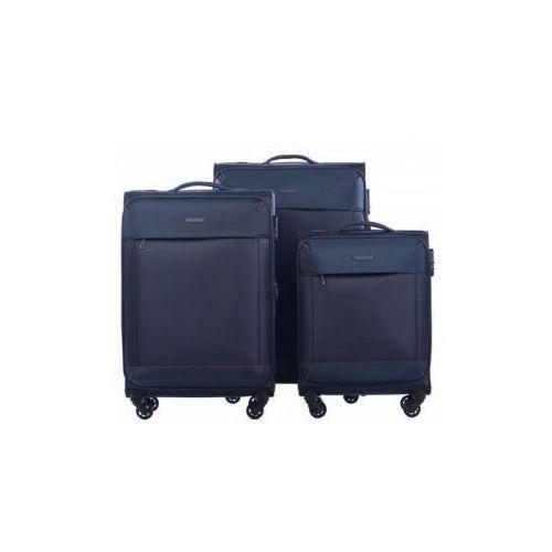 Komplet walizek PUCCINI kolekcja AMSTERDAM zestaw duża + średnia + mała/ kabinowa 4 koła materiał Nylon zamek szyfrowy, 50580 ABC