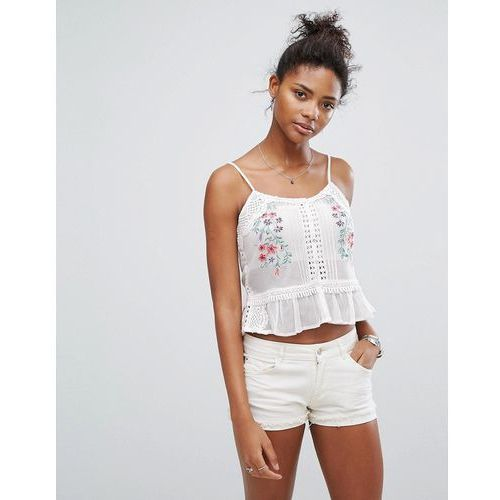 New Look Floral Embroidered Peplum Cami - White, kolor biały