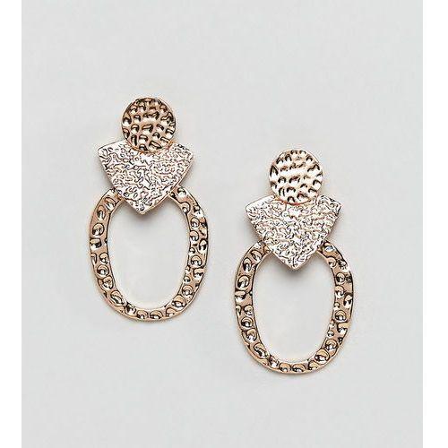 Reclaimed vintage inspired hammered earrings - gold