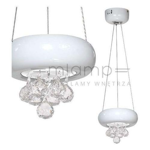 Lampa wisząca lux 0861 okrągła oprawa zwis led 6w z kryształkami crystal biała marki Milagro