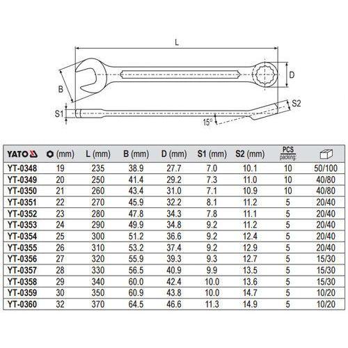 Klucz płasko-oczkowy z polerowaną główką 20 mm Yato YT-0349 - ZYSKAJ RABAT 30 ZŁ, YT-0349