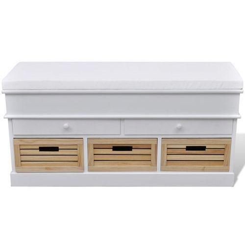 vidaXL Ławka do przedpokoju z poduszką szufladami oraz drewnianymi skrzyniami