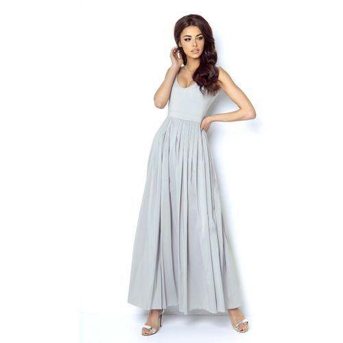 Szara wyjściowa długa sukienka z szyfonowym szerokim dołem marki Ivon