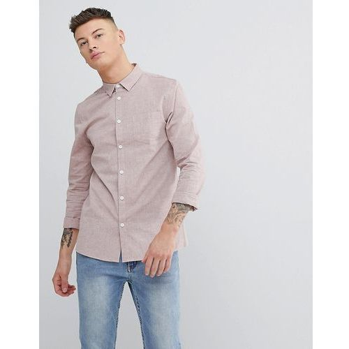 Another Influence Plain Chambrey Long Sleeve Shirt - Pink
