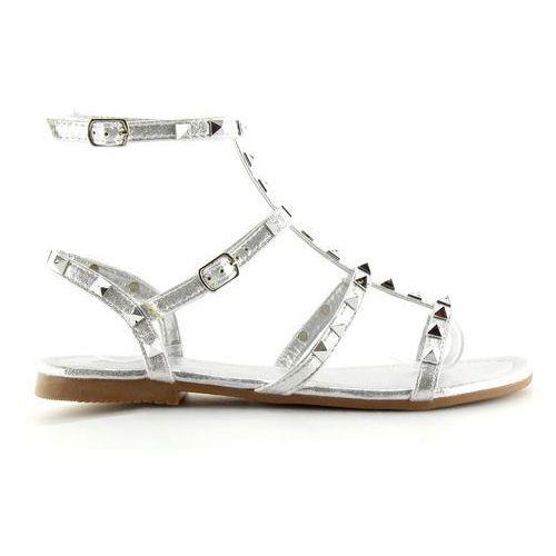 Sandałki damskie z ćwiekami srebrne silver marki Buty obuwie damskie