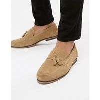 ASOS DESIGN Tassel Loafer In Stone Suede With Fringe Detail - Stone