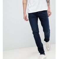 Burton menswear tall skinny fit jeans in dark blue wash - black