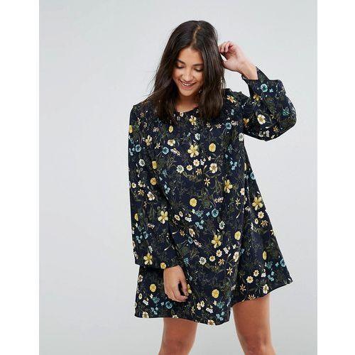 floral printed shift dress - navy marki Qed london