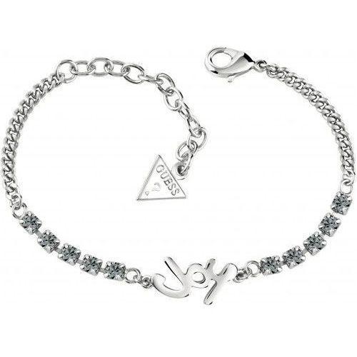 Guess bransoletka z napisem i szarych crystalów ubb61001 s (7613341627053)