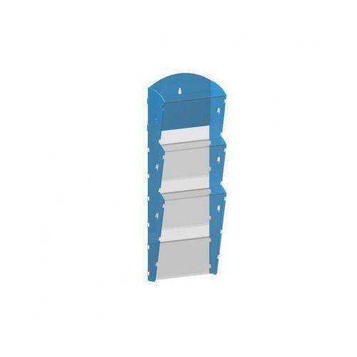 Plastikowy uchwyt ścienny na ulotki - 1x3 A5, niebieski