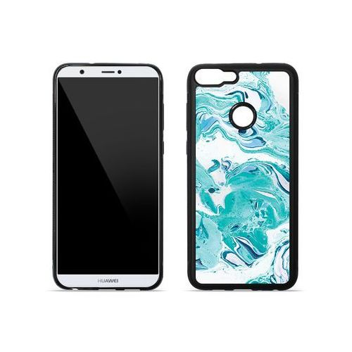 Huawei Enjoy 7S - etui na telefon Aluminum Fantastic - niebieski marmur