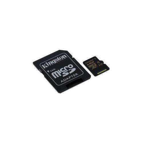Kingston Karta pamięci microsdxc 64gb uhs-i u3 (90r/45w) + sd adapter (sdcg/64gb) czarna