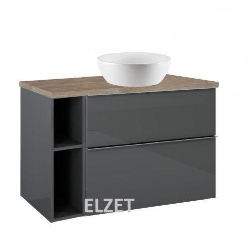 ELITA szafka Look 2S anthracite pod umywalkę nablatową + moduł otwarty + blat 100 dąb classic 167082+167102+166901, 167082.167102.166901