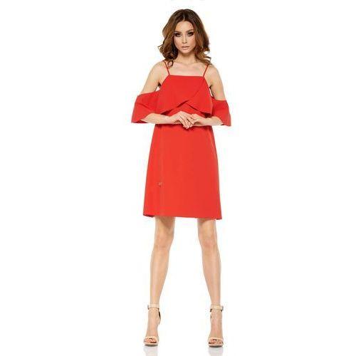 f7bf5d81f1 Czerwona Wyjątkowa Trapezowa Sukienka z Falbanką z Odkrytymi Ramionami