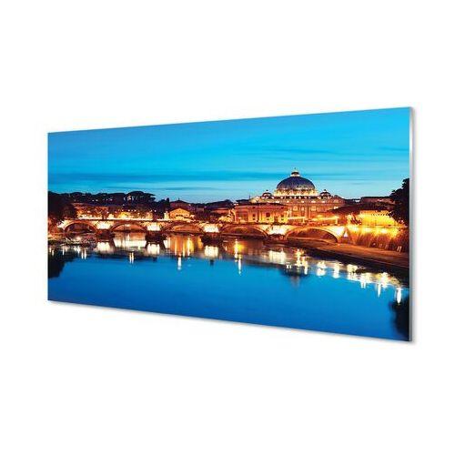 Obrazy akrylowe Rzym Rzeka mosty zachód słońca
