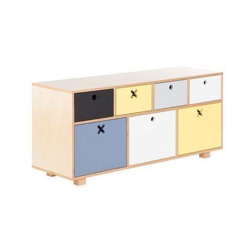 Durbas Style Drewniana Komoda Niska 120 x 40 Kolorowa