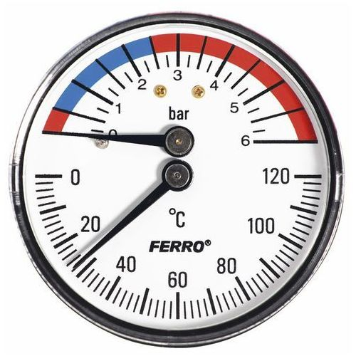 Termomanometr 6 bar 0-120 1/2 axial marki Ferro