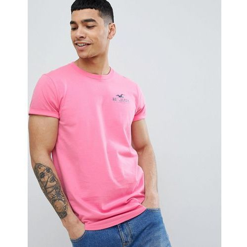 Hollister Front and Back Logo Print T-Shirt Curved Hem in Pink - Pink, w 2 rozmiarach