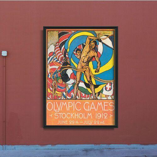 Plakat w stylu vintage plakat w stylu vintage igrzyska olimpijskie w sztokholmie marki Vintageposteria.pl