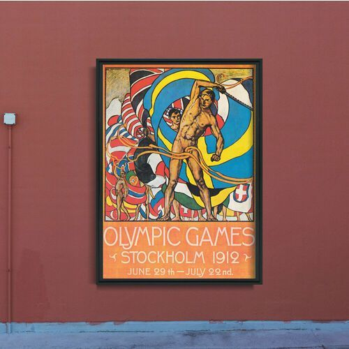 Plakat w stylu vintage Plakat w stylu vintage Igrzyska Olimpijskie w Sztokholmie