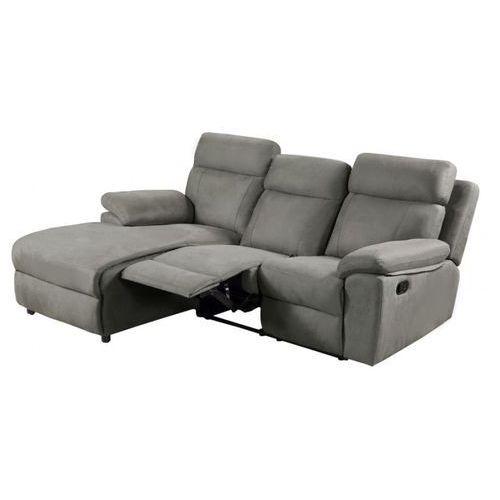 Sofa narożna z funkcją relaks z tkaniny ARTUKI - Szara - Lewostronna