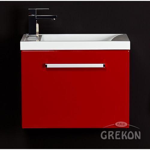 Czerwona szafka wisząca z umywalką 55/36 seria fokus cz marki Gante