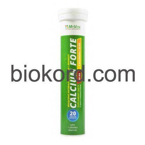 Calcium Forte, Wapń z Witaminą C, Myvita, 20 Tabletek Musujących
