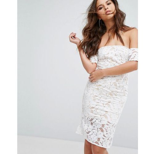 lace bardot midi dress - white marki Prettylittlething