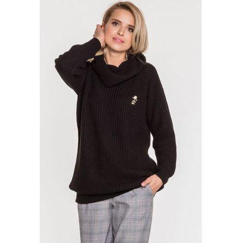 Długi sweter z golfem czarny Madeo - L'ame de Femme