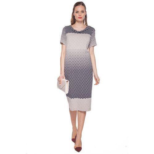 Beżowa, wzorzysta sukienka - Vito Vergelis