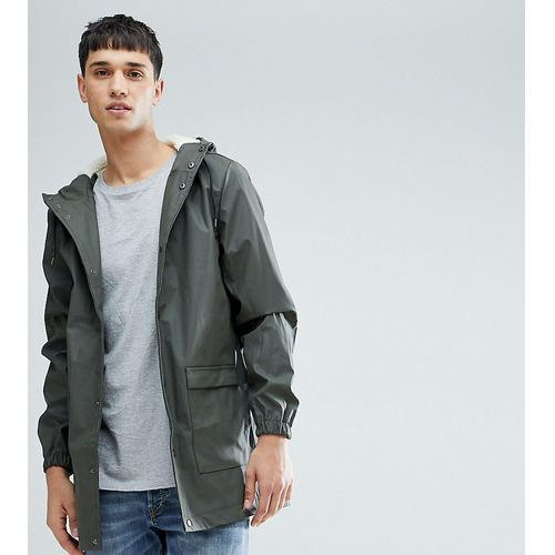 tall mid length water-resistant jacket with hood - green, D-struct