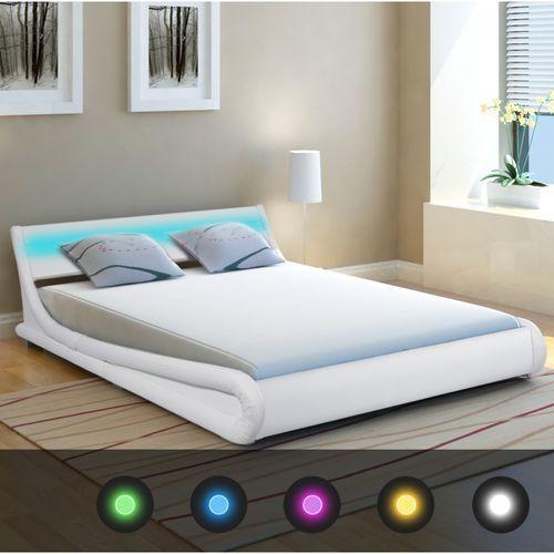 vidaXL Rama łóżka z oświetleniem LED 140x200 cm sztuczna, biała skóra, kolor biały