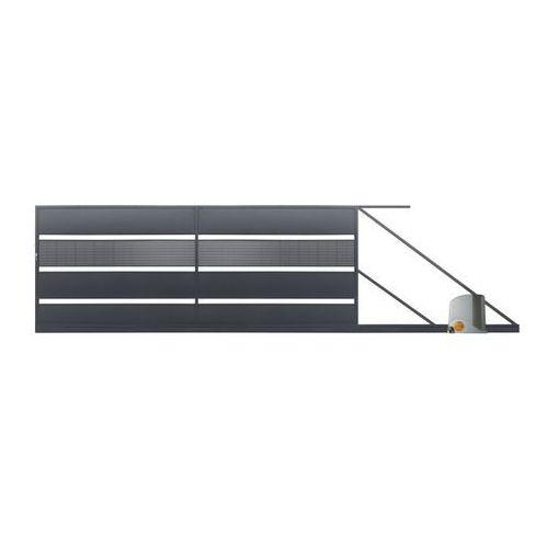 Brama przesuwna z automatem Polbram Steel Group Tebe 4 x 1,58 m ocynk antracyt prawa