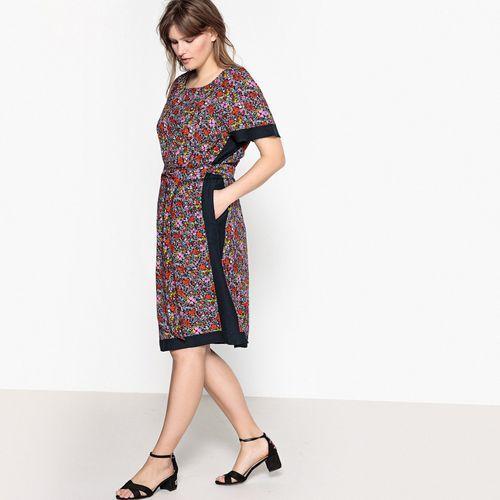 Prosta sukienka w kwiecisty wzór z krótkim rękawem, Castaluna