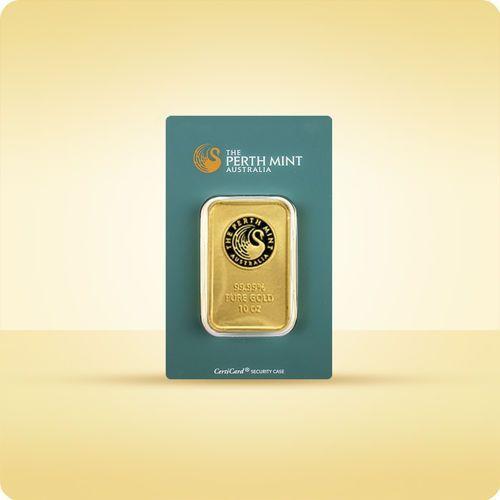 10 uncji sztabka złota certicard marki Perth mint