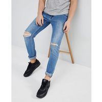 Dr denim clark light stone destroyed ripped knee slim jeans - blue