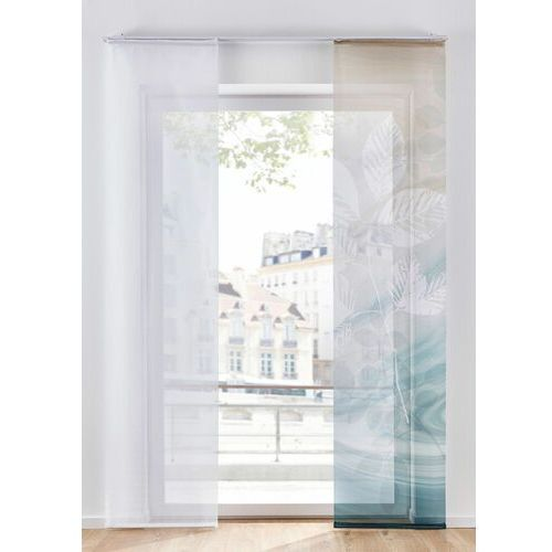 Firana panelowa z nadrukiem w liście (2 sztuki) bonprix naturalno-zielono-biały
