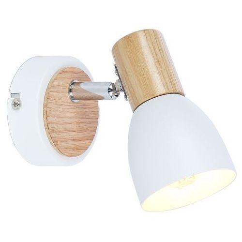 Kinkiet lampa ścienna spot Candellux Anabel 1x25W E14 biały / drewno 91-61669, 91-61669
